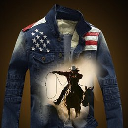 Wholesale Flag Denim Jacket - Wholesale- PU Leather Flag Design Denim Jacket Mens 2017 Fashion Embroidery Jean Motorcycle Jackets Male Free Shipping