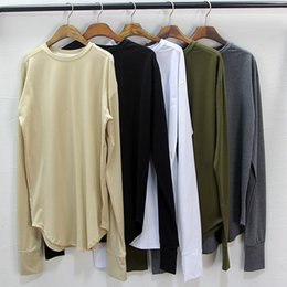Wholesale Oversized Men Shirt - 5 Colors Mens Base Layers Long Sleeve Extended T-Shirt Curve Exlongated Extra Long Oversized Top Tees 2018