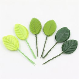 Wholesale Green Leaves For Crafts - Wholesale-50Pcs Handmade Green Artificial Silk Flower Leaf-shaped Event Party Leaves Supplies DIy Craft For Wedding Home Festival Decorate