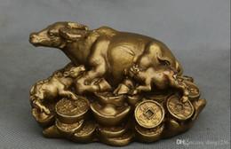 china bulls Rabatt Neue Chinesische Kupfer Fengshui Sternzeichen Jahr Mutter Sohn Bull Ox Oxen Yuanbao Statue