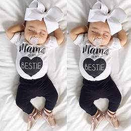 Wholesale Cute Baby Boy Pajamas - 2017 Baby Boys Clothing Sets mama is my bestie t-shirts Pants 2Pcs Cute Toddler Home Pajamas Boutique Clothes
