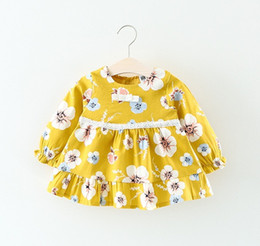 Wholesale Top Little Girl Dresses - Little Girls Beach Blossom Tops Dresses 2017 Fall Kids Boutique Clothing Korean Baby Girls Cotton Long Sleeves Dresses with Lace Waist