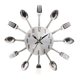 Wholesale Kitchen Clock Utensils - Wholesale-Cool Stylish Modern Design Wall Clock Silver Kitchen Cutlery Utensil Vintage Design Wall Watch Clock Spoon Fork Home Decor