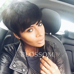 layered hairstyles medium hair Promo Codes - 100% Human Real Hair Longer Pixie Cuts Wig Short Cut Layered Wigs For Black Women Popular Hairstyles Glueless Black Bob Wigs