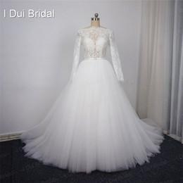 Wholesale Eyelash Lace Gown - Long Sleeve Lace Wedding Dresses Many Tulle Layer High Quality Eyelash Lace Factory Real Photo 2017