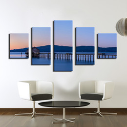 Wholesale Pier Wall - 5 PCS the beautiful landscape Piers End Modern Home Wall Decor Print on Canvas WALL Painting Set of 5 Each Canvas Arts Unframed