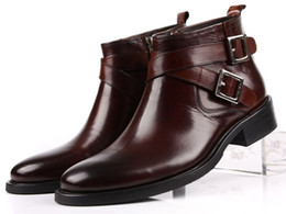 Wholesale Double Buckle Boots - Wholesale- EUR 46 Large size fashion brand black brown tan mens boots double-buckle genuine leather shoes mens dress boots mens ankle boots