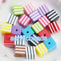 Wholesale 8mm Striped Resin Beads - Assorted Mixed Rainbow Colors 8mm Square Cube Striped Resin Beads Bubble Gum Beads Gumball Beads 50 100 300 500PCS