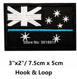 """Wholesale Ops Military - 3"""" Australian Flag Thin Light Blue Patches Navy ARMY MILITARY MORALE TACTICAL BLACK OPS SWAT Hook and Loop Embroidered MILSPEC"""