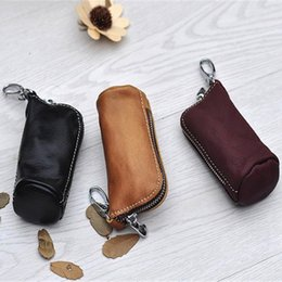 Wholesale Car Auto Cool - ZYD-COOL Key Holder Genuine Cow Leather Buckets cases Zipped Key Pouch Keychain Auto Car Key Cases Bag