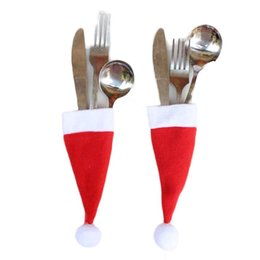 Wholesale Decorative Knives - Wholesale- cute Christmas Decorative tableware Knife Fork Set Christmas Hat Storage Tool Christmas Decoration Supplies lovely 12*6cm 1PC