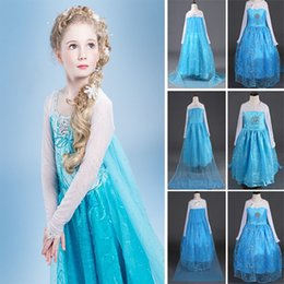 Wholesale Holloween Clothing - Children Girls Fever Dresses Elsa Cosplay Costume Party Dresses Diamond Blue Snowflake Dress Holloween XMAS Clothing PX-A09