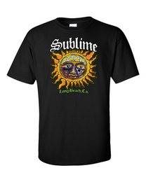 Wholesale California Fashion Men - Sublime T-Shirt Long Beach California Sun Ska Punk Reggae Rock Black Tee Men Short Sleeve Tee