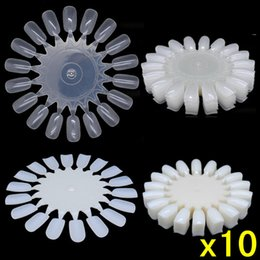 Wholesale fake nails designs - Wholesale-Hot Sale! 10pcs lot False Fake Nail Design Tips Nail Art White Display Practice Wheels Polish Free Shipping 131-0064