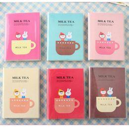 Wholesale Mini Cute Note Book - free shipping 8.5 x 11.5cm multicolor Cute milk tea Diary book Notebook Note pad Memo (PVC cover)