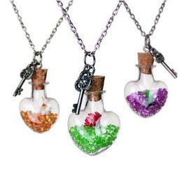 Wholesale Gemini Pendants - Crystal diamond dry flower drift wishing bottle heart pendants Necklaces for women lover gemini necklace DIY jewelry MOQ 20pcs Free Shipping