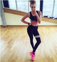 Wholesale Clothing For Workouts - New Yoga Leggings For Women Fashion stripes Quick-Drying Tight Pants High Waist Gym Clothing Sports Workout Fitness Slim Running Sweatpant