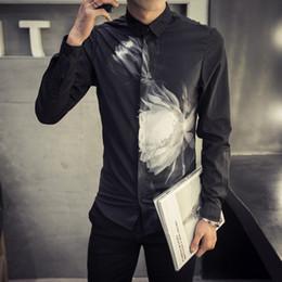 Wholesale Xs Men Satin Shirts - Wholesale- New 2016 autumn fashion floral print long sleeve shirt men black slim fit shirt chemise homme men's clothing size m-3xl CS24-3