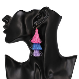 Wholesale Beaded Ear Tassels - Thread Ball Dangle Earrings For Women Gradient Beaded Ball Ear Drop Bohemia Ethnic Tassels Dangle Stud Earrings Eardrop Accessories