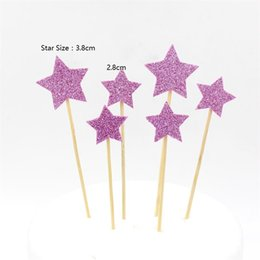 Wholesale Baby Shower Stars - Wholesale-Lovely Star Cake Topper Set for Kids Birthday Party Decoration Supplies Baby Shower Party Deco 6pcs lot