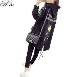 Wholesale Warm Ponchos For Women - Wholesale-Autumn Winter Cardigan Sweater Coat for Women 2016 Cartoon Printed Long Hooded Sweater Coat Fall Warm Thick Poncho Jacket