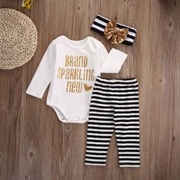 Wholesale New Newborn Unisex Set Clothes - Newborn Baby White Romper + Pant + Headband Golden & Black Striped 3Pcs A Set Brand Sparkling Letter Print New Kid Clothing Boy Girl Suit