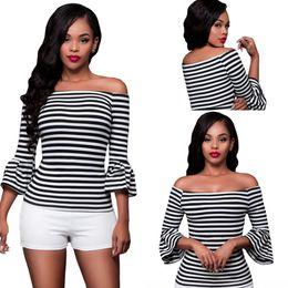 Wholesale Womens Cheap Printed T Shirts - Cheap Sexy Slash Neck Womens Stripes T-shirts Autumn Casual Black White Off-the-shoulder Top Tee Cute Female Blusas LC25891