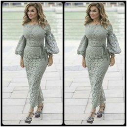 Wholesale White Satin Straight Dress - Fashion Scoop Lace Long Sleeve Sashes Straight Ankle Length Muslim Prom Dresses 2017 Women's Evening Party Gowns
