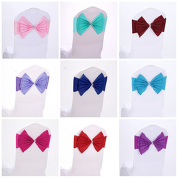 Arcos de cadeira elástica on-line-Elastic Organza Cadeira Covers Caixilhos Band Wedding Bow Tie Backs Spandex Bowknot Cadeiras Sash Buckles Cover Back Hostel Guarnição Rosa 2 8sk KK