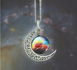 Wholesale Buy Plate Steel - New Vintage starry Moon Outer space Universe Gemstone Pendant Necklaces Mix Models Burst recommendation Welcome to buy