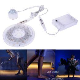 Wholesale Led Strip 12v 1m - Waterproof Led Strip 1M 1.5M 2x1.5M Strip Light Waterproof Bedside Motion Sensor Lamp With Inductive Head Warm White Light
