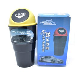 Wholesale Wholesale Mini Garbage Cans - Mini Round Car Trash Bin Rubbish For Car Office Home Desk Garbage Dustbin Box Dust Holder Convenient Trash Can Free Shipping ZA2800