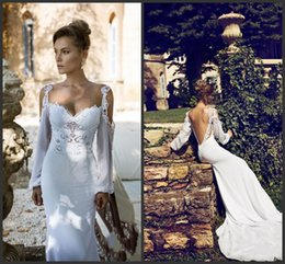 Wholesale Open Top Charms - Open Back Wedding Dresses Long White Gown Lace Off Shoulder Neck Backless Long Sleeve Count Train Charming Design Sheath Style Top Sale