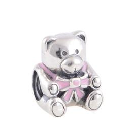 Wholesale Bead Teddy Wholesale - Genuine S925 Sterling Silver Beads Baby Girl Teddy Bear Charm For European Brand Bracelets 925 ALE L239