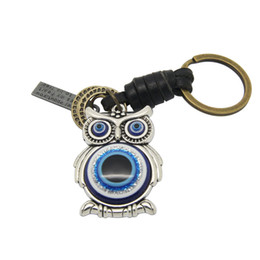 Wholesale Metal Accessories For Bags - 2pcs Vintage Silver Alloy Metal Cute Blue Glass Evil Eye Animal Owl Charm Punk Key chain For Bag Accessories Leather Jewery