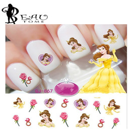 Wholesale Princesses Nail Stickers - Wholesale- Beautome Princess Nail Tips Stickers Cute Cartoon 2016 Water Transfer Decals Nail Art Decorations 3D Waterproof Kids Nail Desi