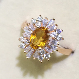 Wholesale Citrine Sets - Promotion new fashion ring for woman gift gold plated 925 Solid Sterling Silver jewelry high quality natural citrine engagement ring