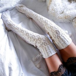Wholesale Knitted Thigh High Stockings - Wholesale- Women's Winter Crochet Knitted Stocking Leg Warmers Boot Thigh High Boot Stockings Over Knee