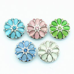 Wholesale Cat Eye Stones - New Trendy KZ3082 Beauty Round Colorful cat eye stone flowers 18MM Round ginger snap buttons for DIY ginger snap Jewelry Accessories charm