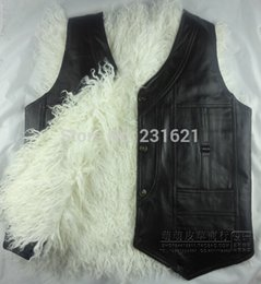 Wholesale Thermal Leather Vest - Wholesale- Autumn and winter quinquagenarian men's wool vest one piece fur waistcoat sheepskin genuine leather thermal thick vest