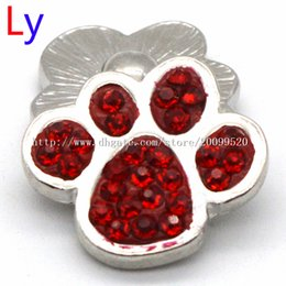 Wholesale Green Decorative Beads - 20MM Metal Noosa ginger snaps Decorative Clear Rhinestones dark red Color Metal dog Button jewelry For Wedding Embellishment NR0067