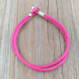 Wholesale Silver Cord 925 - Authentic 925 Silver Fabric Cord Bracelet, Hot Pink Fits European Pandora Style Jewelry Charms Beads 590749CPH-S