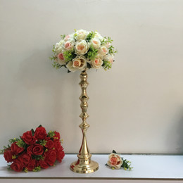 Wholesale Wedding Flower Table Stands - 53 cm Tall Gold Candle Holder Candle Stand Wedding Table Centerpiece Event Road Lead Flower Rack 10 pcs   lot