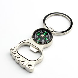 Wholesale Multi Key Ring - Multi-function Hiking Metal Mini Compass Bottle Opener Keychain Foot Shape Key ring Hot Creative Gift WA2070