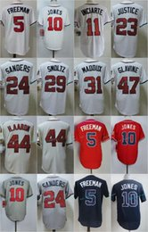 Wholesale Hank Aaron Baseball - Cool Base Atlanta Throwback Jersey Mens 11 Ender Inciarte 24 Deion Sanders 29 John Smoltz 44 Hank Aaron 47 Tom Glavine Jerseys
