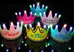Wholesale Happy Caps Wholesale - Crown Led Happy Birthday Cap Colorful Non-woven Hat King Princess Luminous Led Birthday Cap Hat New Year Birthday Gift for Kids