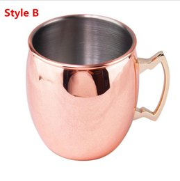 Wholesale Copper Drink - 100Pcs Moscow Mule Mug Stainless Steel Hammered Copper Mug for Beer Ice Coffee Tea Plating Hammered Drum Cocktail Drink Cups