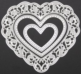 Wholesale Decorative Metal Hearts - Free shipping Brand New 3pcs set Metal Love Heart Cutting Dies Stencils for DIY Cutting Dies Die Cut Stencil Decorative Scrapbooking Craft