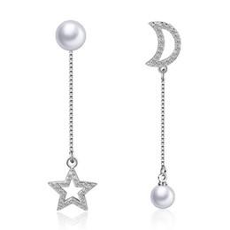 Brincos de estrela pendurados on-line-PATICO Elegante Prata Asymmetric Star Moon Ear Cadeias Dangle Brincos Longo Brinco de Pérola Para As Mulheres Pendientes de Jóias Por Atacado