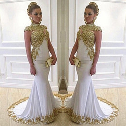 stretch satin dress gown Promo Codes - Stunning White Long Evening Dress High Neck Cap Sleeve Beaded Gold Lace Appliques Stretch Satin Mermaid Women Formal Gowns
